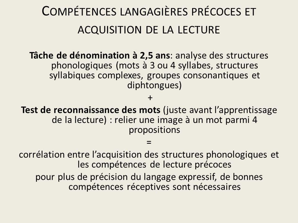 C OMPÉTENCES LANGAGIÈRES PRÉCOCES ET ACQUISITION DE LA LECTURE Tâche de dénomination à 2,5 ans: analyse des structures phonologiques (mots à 3 ou 4 sy