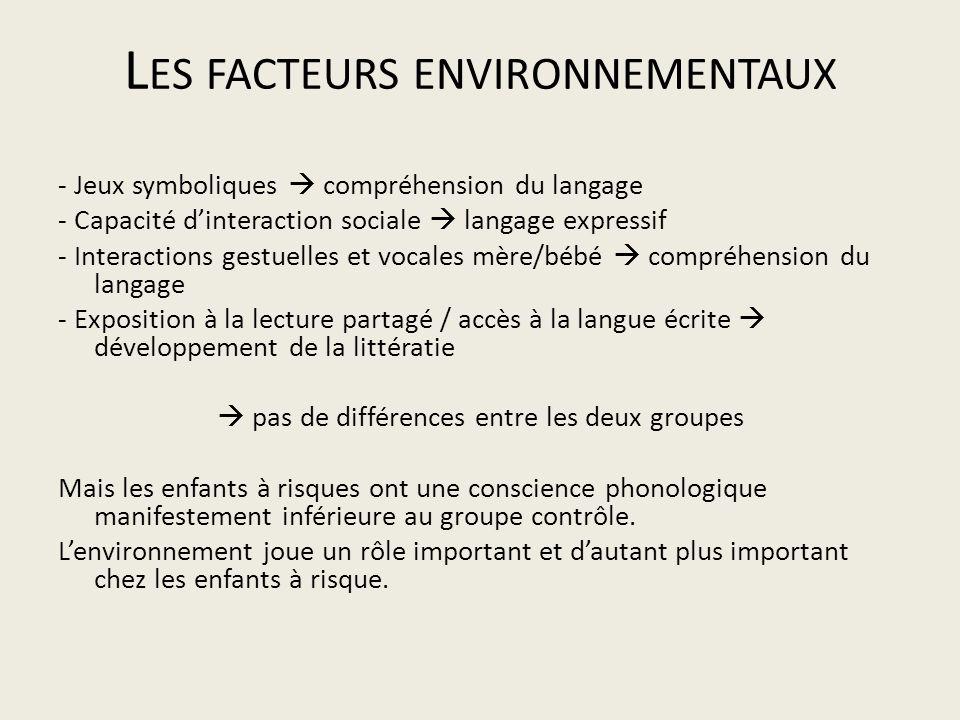L ES FACTEURS ENVIRONNEMENTAUX - Jeux symboliques compréhension du langage - Capacité dinteraction sociale langage expressif - Interactions gestuelles