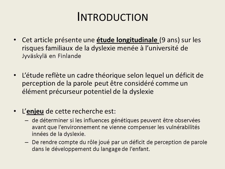 I NTRODUCTION Cet article présente une étude longitudinale (9 ans) sur les risques familiaux de la dyslexie menée à luniversité de Jyväskylä en Finlan