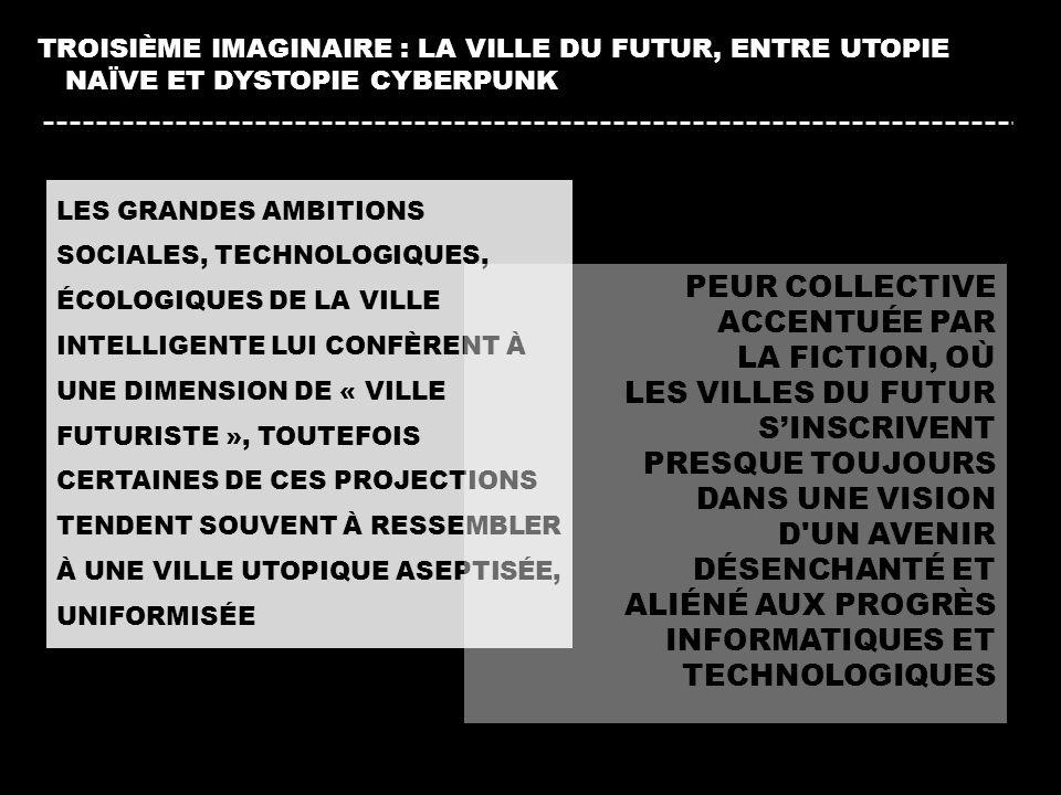 LES GRANDES AMBITIONS SOCIALES, TECHNOLOGIQUES, ÉCOLOGIQUES DE LA VILLE INTELLIGENTE LUI CONFÈRENT À UNE DIMENSION DE « VILLE FUTURISTE », TOUTEFOIS C