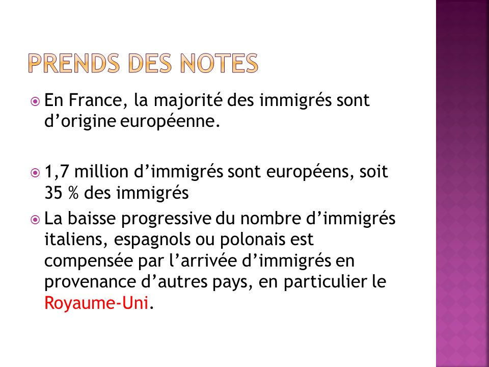 En France, la majorité des immigrés sont dorigine européenne. 1,7 million dimmigrés sont européens, soit 35 % des immigrés La baisse progressive du no