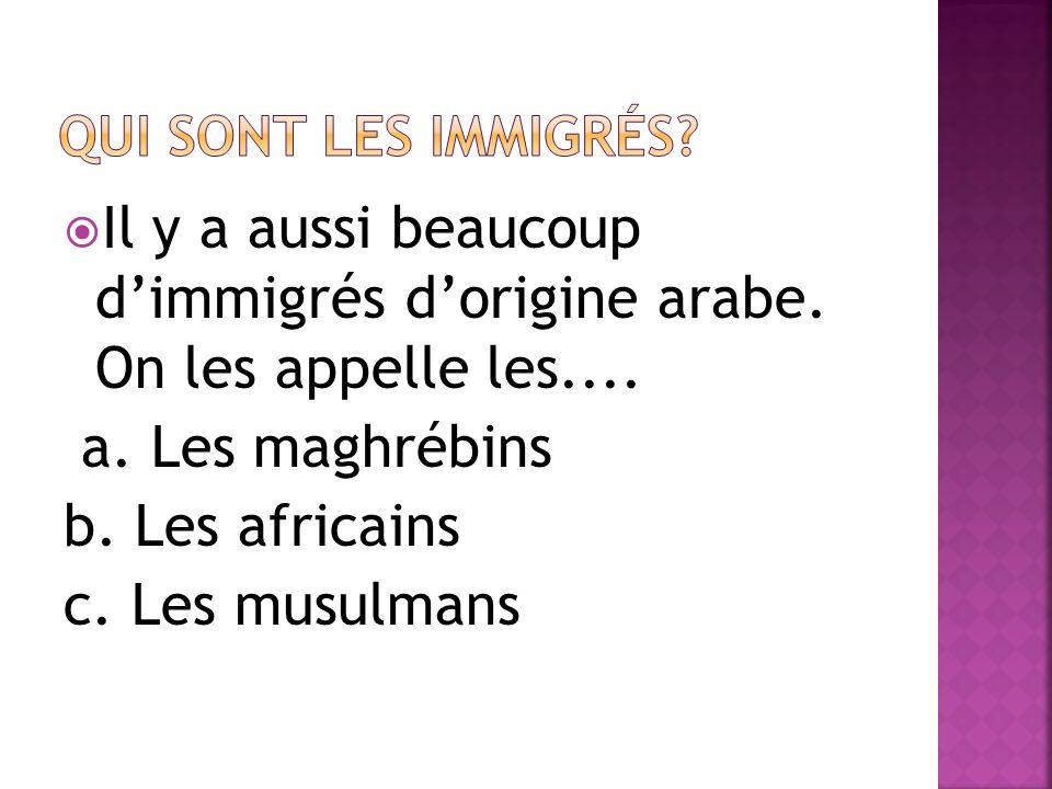 Il y a aussi beaucoup dimmigrés dorigine arabe. On les appelle les.... a. Les maghrébins b. Les africains c. Les musulmans