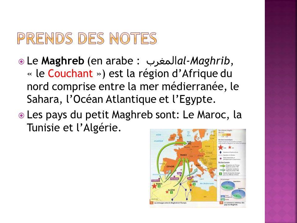 Le Maghreb (en arabe : المغرب al-Maghrib, « le Couchant ») est la région dAfrique du nord comprise entre la mer médierranée, le Sahara, lOcéan Atlanti