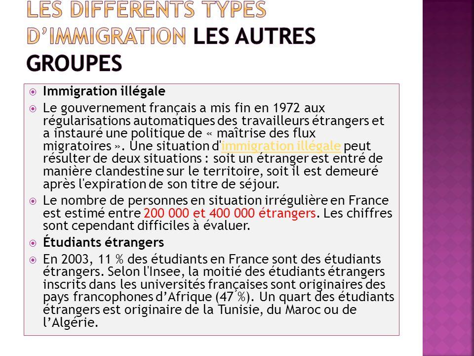 Immigration illégale Le gouvernement français a mis fin en 1972 aux régularisations automatiques des travailleurs étrangers et a instauré une politiqu