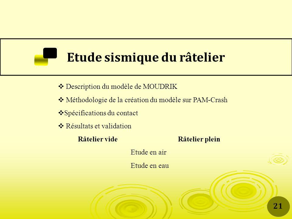 Etude sismique du râtelier Description du modèle de MOUDRIK Méthodologie de la création du modèle sur PAM-Crash Spécifications du contact Résultats et validation Râtelier vide Râtelier plein Etude en air Etude en eau 21