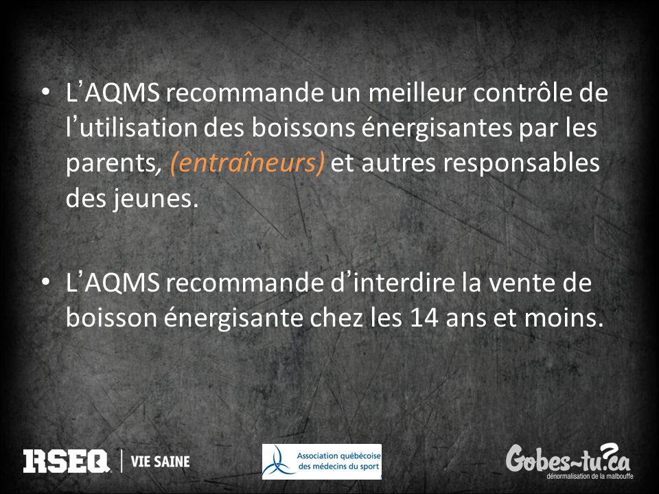 LAQMS recommande un meilleur contrôle de lutilisation des boissons énergisantes par les parents, (entraîneurs) et autres responsables des jeunes. LAQM