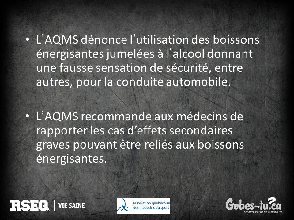 LAQMS dénonce lutilisation des boissons énergisantes jumelées à lalcool donnant une fausse sensation de sécurité, entre autres, pour la conduite autom