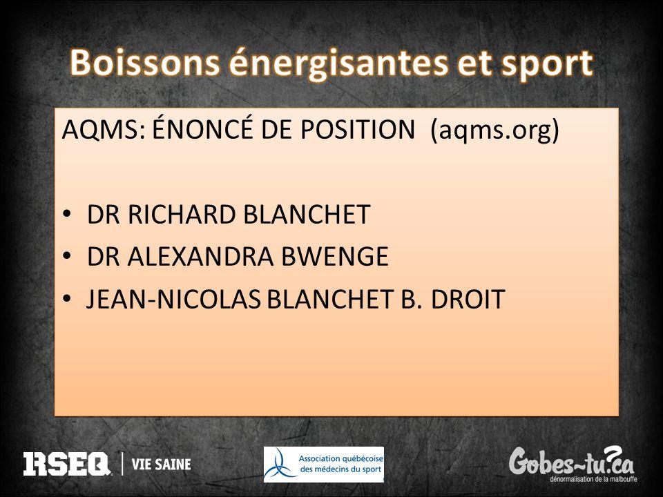AQMS: ÉNONCÉ DE POSITION (aqms.org) DR RICHARD BLANCHET DR ALEXANDRA BWENGE JEAN-NICOLAS BLANCHET B. DROIT AQMS: ÉNONCÉ DE POSITION (aqms.org) DR RICH