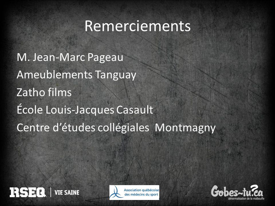 Remerciements M. Jean-Marc Pageau Ameublements Tanguay Zatho films École Louis-Jacques Casault Centre détudes collégiales Montmagny