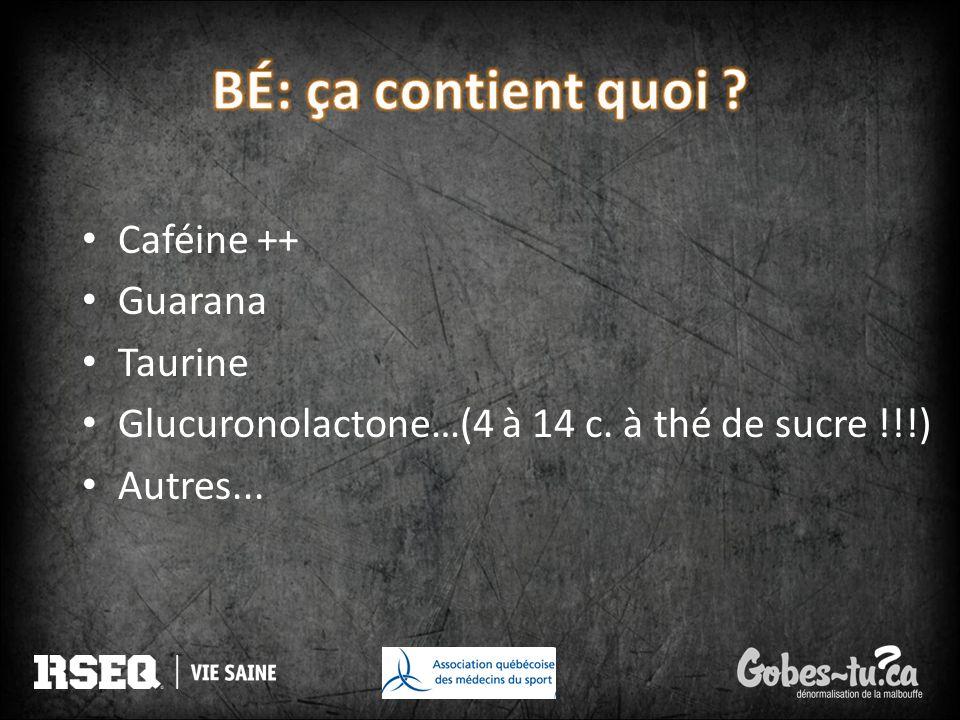 Caféine ++ Guarana Taurine Glucuronolactone…(4 à 14 c. à thé de sucre !!!) Autres...