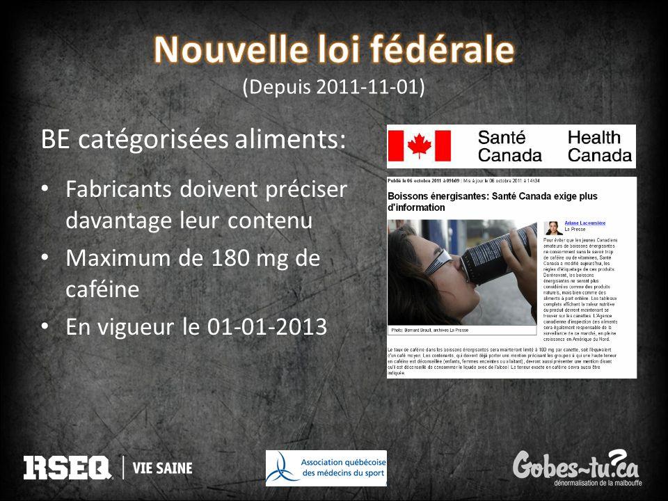 BE catégorisées aliments: Fabricants doivent préciser davantage leur contenu Maximum de 180 mg de caféine En vigueur le 01-01-2013