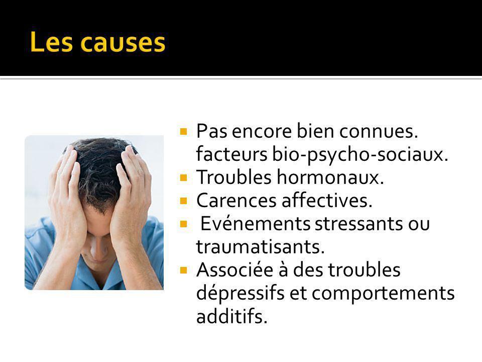 Pas encore bien connues.facteurs bio-psycho-sociaux.