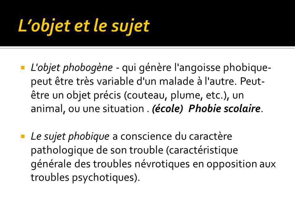 L objet phobogène - qui génère l angoisse phobique- peut être très variable d un malade à l autre.