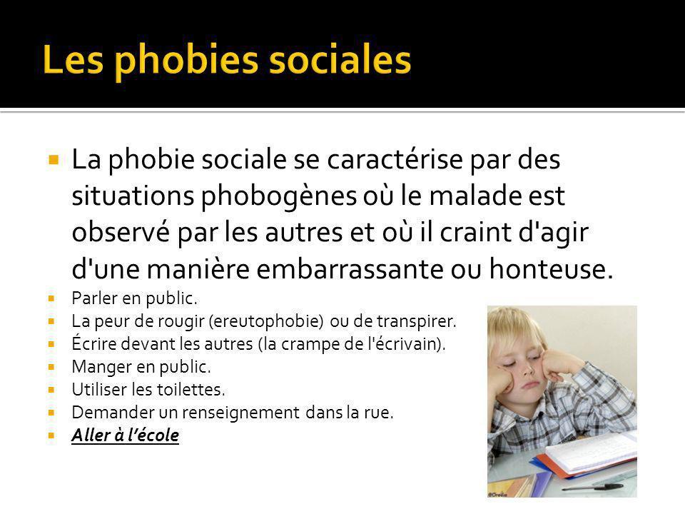 La phobie sociale se caractérise par des situations phobogènes où le malade est observé par les autres et où il craint d agir d une manière embarrassante ou honteuse.