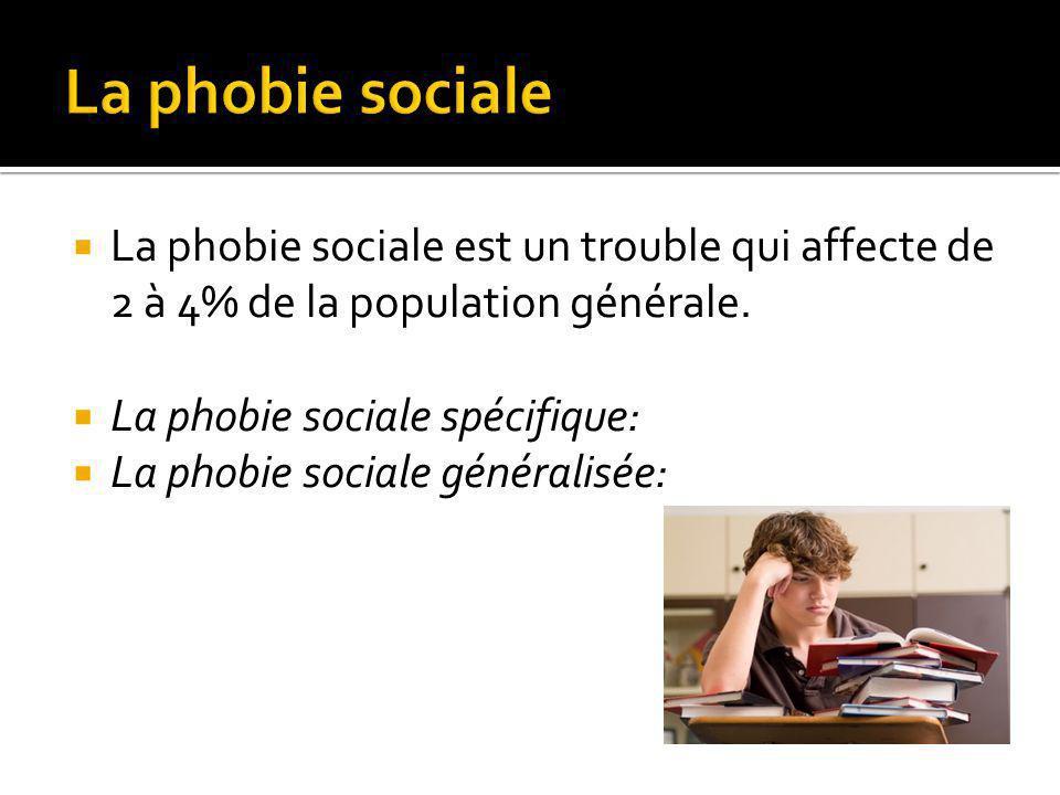 La phobie sociale est un trouble qui affecte de 2 à 4% de la population générale.