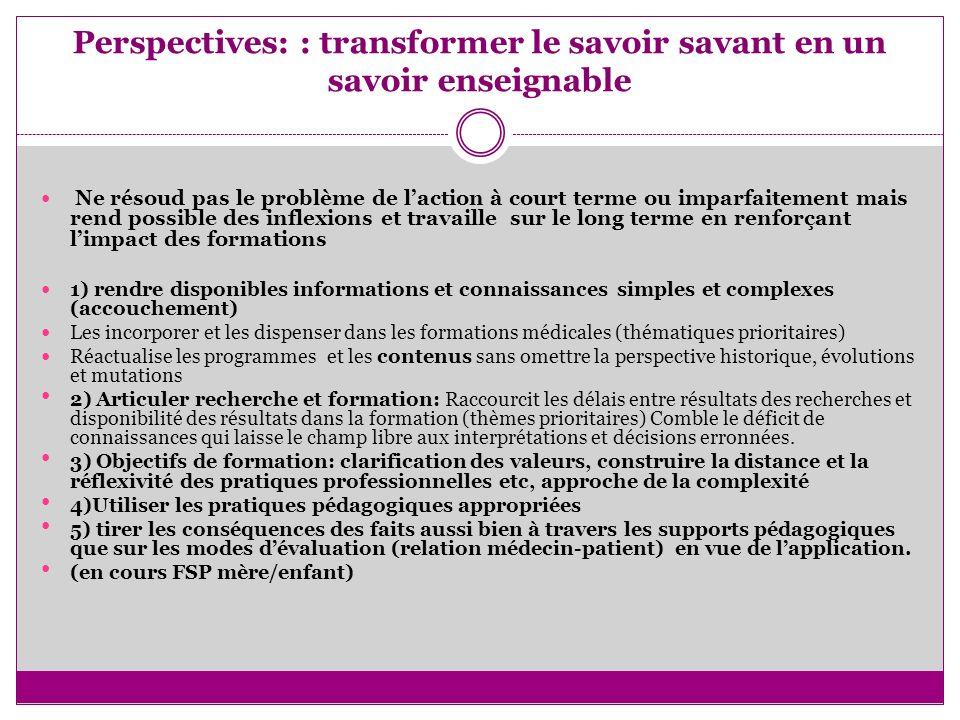 Perspectives: : transformer le savoir savant en un savoir enseignable Ne résoud pas le problème de laction à court terme ou imparfaitement mais rend p
