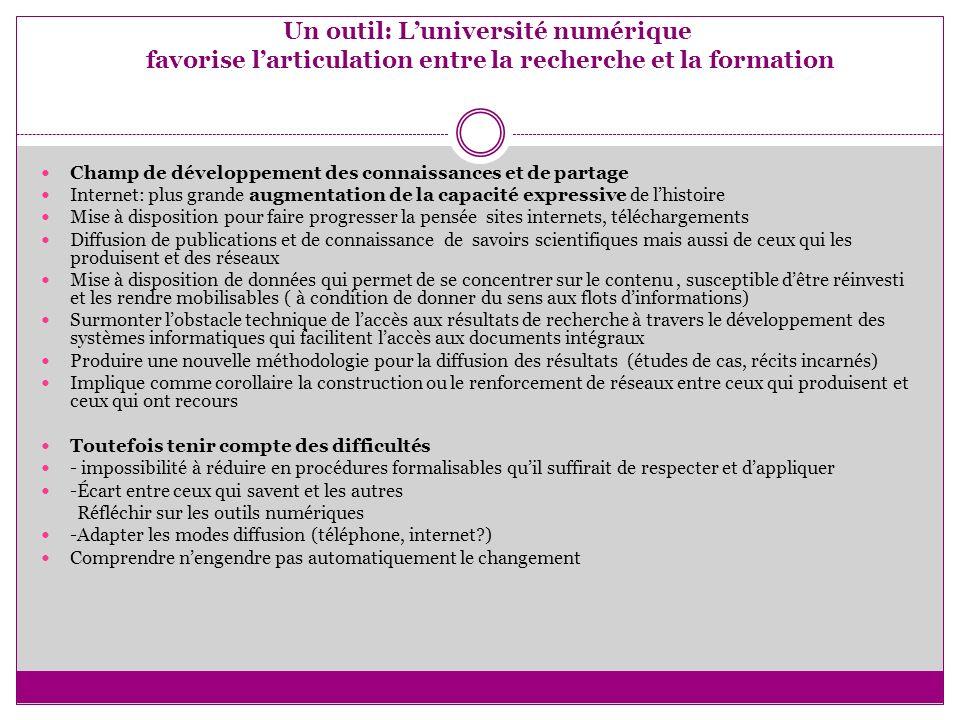 Un outil: Luniversité numérique favorise larticulation entre la recherche et la formation Champ de développement des connaissances et de partage Inter