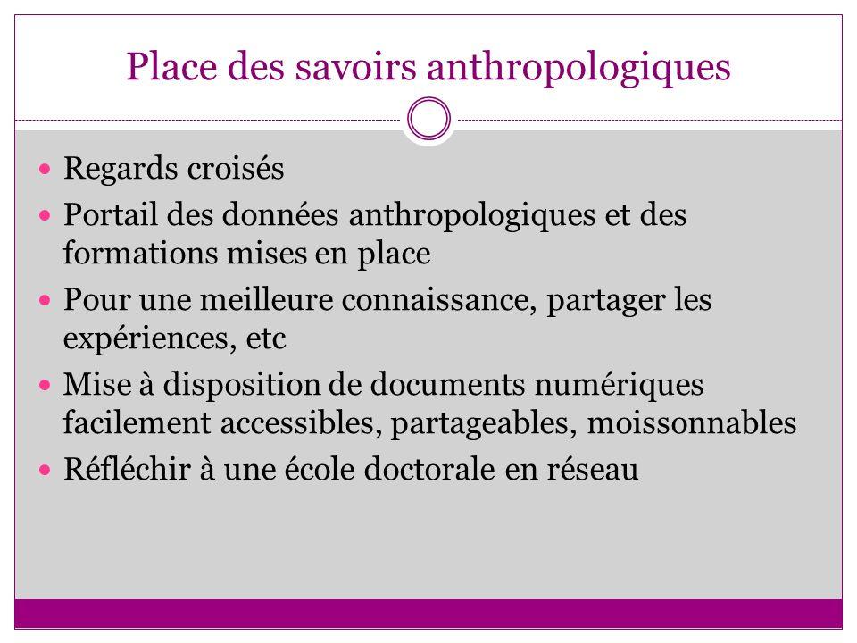Place des savoirs anthropologiques Regards croisés Portail des données anthropologiques et des formations mises en place Pour une meilleure connaissan