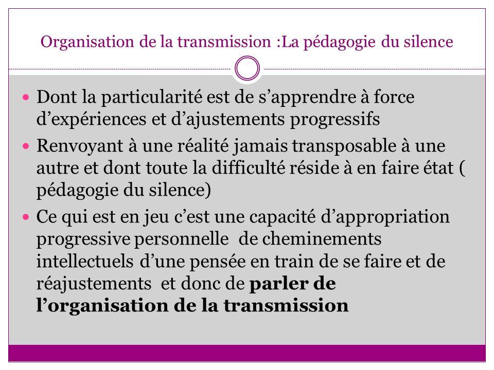 Organisation de la transmission :La pédagogie du silence Dont la particularité est de sapprendre à force dexpériences et dajustements progressifs Renv
