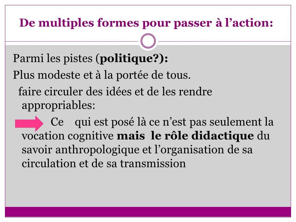 De multiples formes pour passer à laction: Parmi les pistes (politique?): Plus modeste et à la portée de tous. faire circuler des idées et de les rend