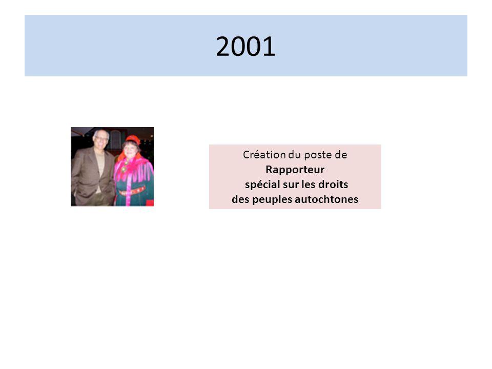 2001 Création du poste de Rapporteur spécial sur les droits des peuples autochtones