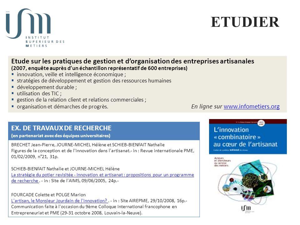 Diffusion et valorisation des travaux de recherche sur lartisanat et la petite entreprises ETUDIER EX.