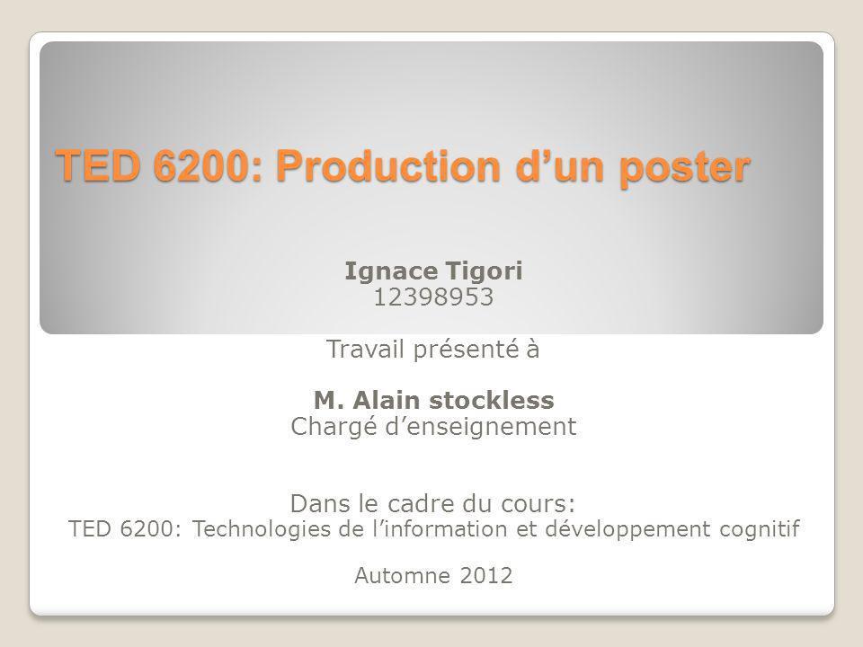 TED 6200: Production dun poster Ignace Tigori 12398953 Travail présenté à M.