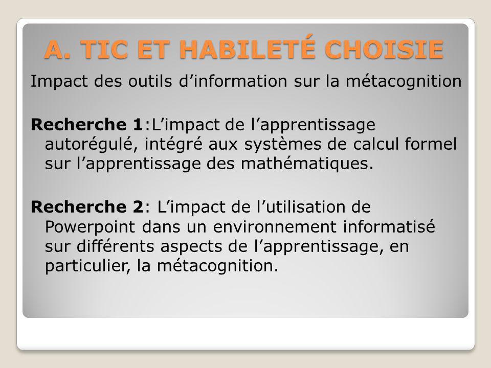 A. TIC ET HABILETÉ CHOISIE Impact des outils dinformation sur la métacognition Recherche 1:Limpact de lapprentissage autorégulé, intégré aux systèmes