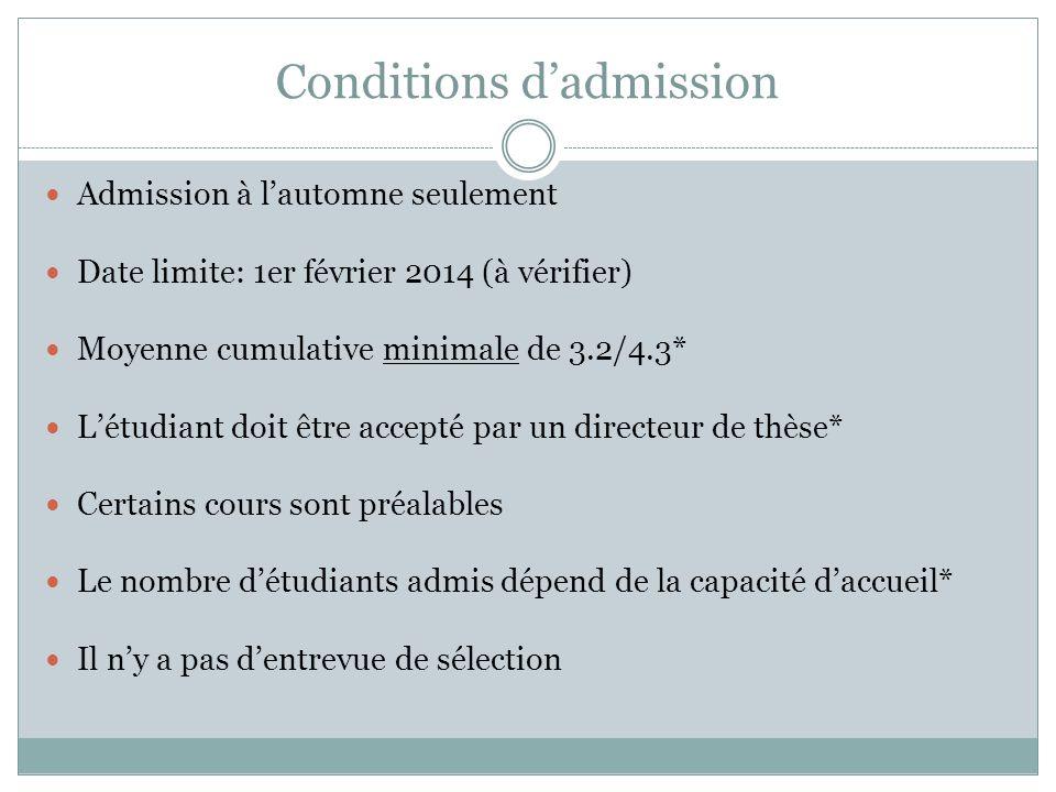 Conditions dadmission Admission à lautomne seulement Date limite: 1er février 2014 (à vérifier) Moyenne cumulative minimale de 3.2/4.3* Létudiant doit