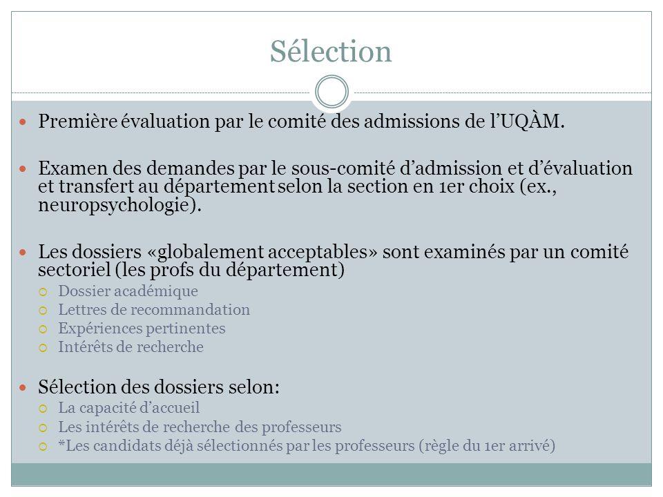 Sélection Première évaluation par le comité des admissions de lUQÀM. Examen des demandes par le sous-comité dadmission et dévaluation et transfert au