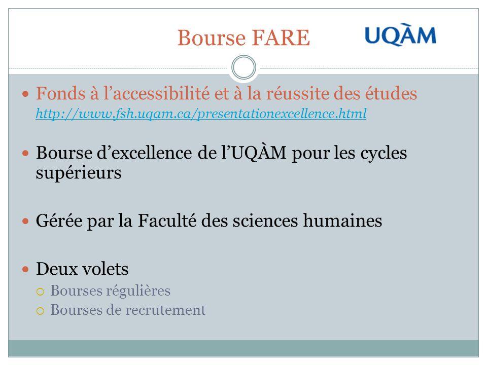 Bourse FARE Fonds à laccessibilité et à la réussite des études http://www.fsh.uqam.ca/presentationexcellence.html Bourse dexcellence de lUQÀM pour les