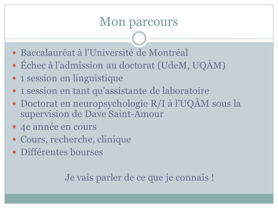 Mon parcours Baccalauréat à lUniversité de Montréal Échec à ladmission au doctorat (UdeM, UQÀM) 1 session en linguistique 1 session en tant quassistan