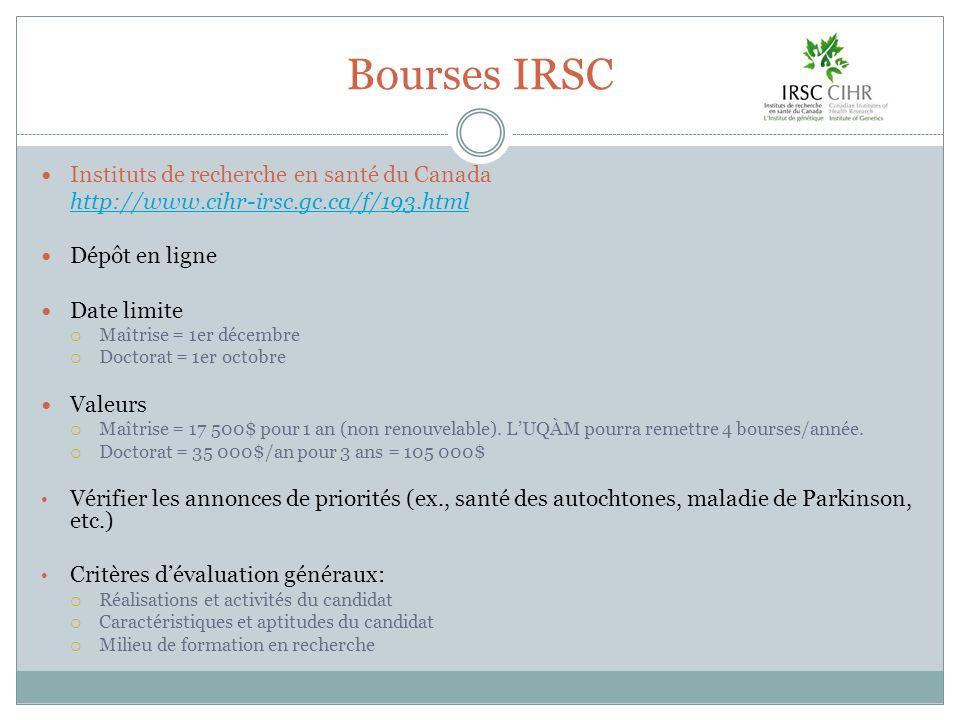 Bourses IRSC Instituts de recherche en santé du Canada http://www.cihr-irsc.gc.ca/f/193.html Dépôt en ligne Date limite Maîtrise = 1er décembre Doctor