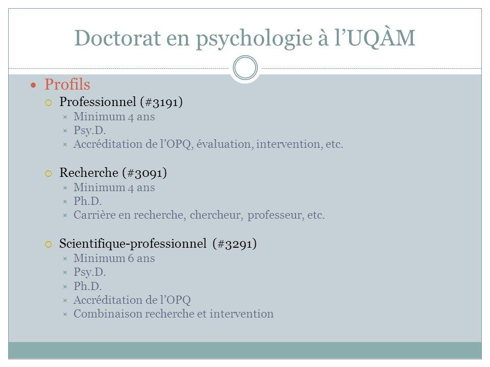 Doctorat en psychologie à lUQÀM Profils Professionnel (#3191) Minimum 4 ans Psy.D. Accréditation de lOPQ, évaluation, intervention, etc. Recherche (#3