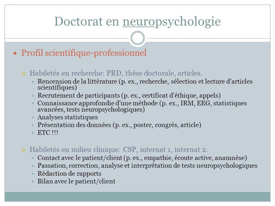 Conclusion Décider de poser sa candidature au doctorat en neuropsychologie peut être … Stressant, intimidant, anxiogène, déconcertant, décevant, etc.