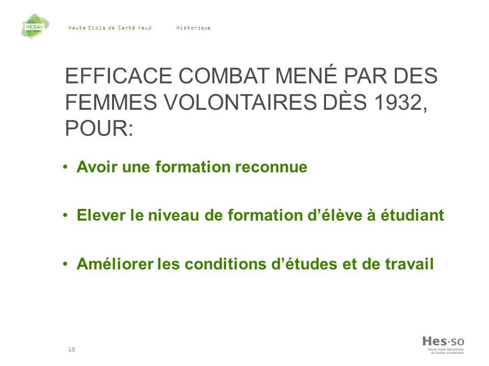 Haute Ecole de Santé Vaud 10 Historique EFFICACE COMBAT MENÉ PAR DES FEMMES VOLONTAIRES DÈS 1932, POUR: Avoir une formation reconnue Elever le niveau