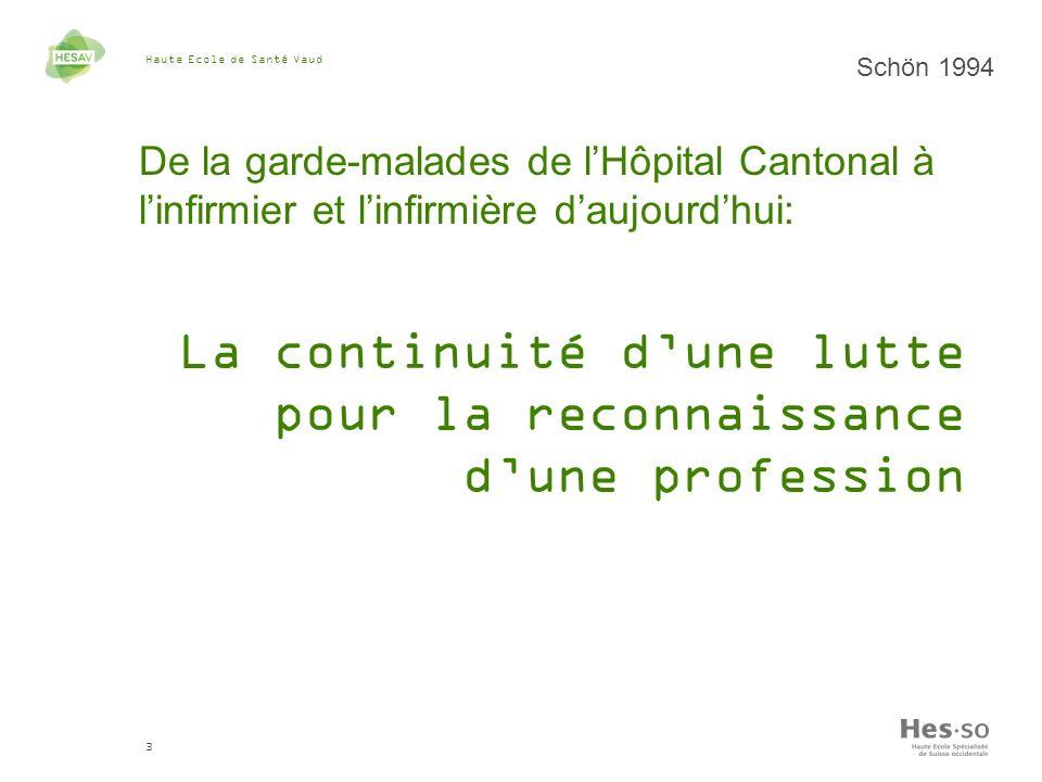 Haute Ecole de Santé Vaud 3 Schön 1994 De la garde-malades de lHôpital Cantonal à linfirmier et linfirmière daujourdhui: La continuité dune lutte pour la reconnaissance dune profession
