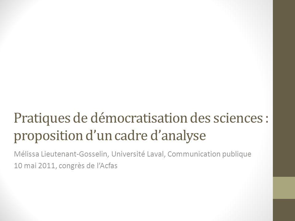 Vision des sciences sous-jacente (idéal) Apolitique Limiter les interventions Politique Intervention (maîtrise)