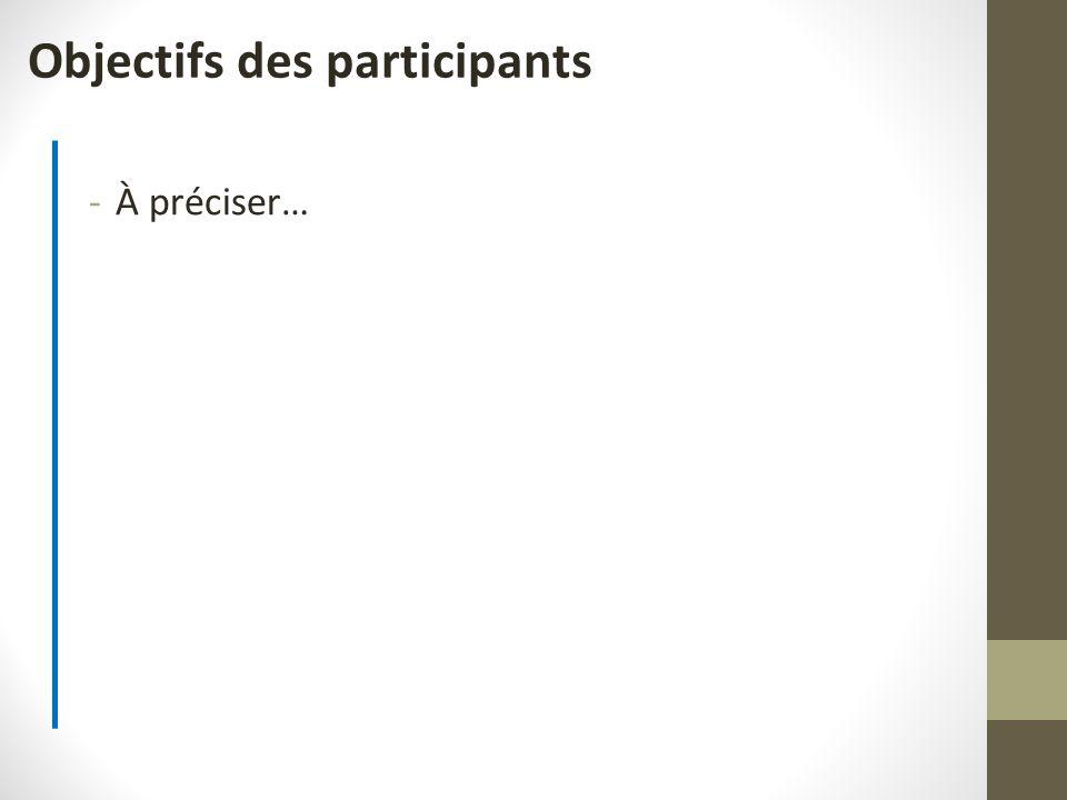 Objectifs des participants -À préciser…
