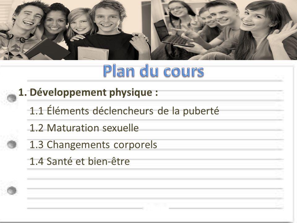 1. Développement physique : 1.1 Éléments déclencheurs de la puberté 1.2 Maturation sexuelle 1.3 Changements corporels 1.4 Santé et bien-être
