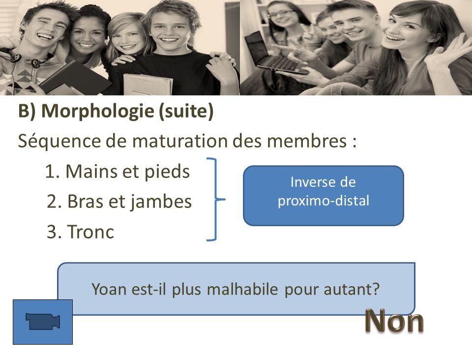 B) Morphologie (suite) Séquence de maturation des membres : 1. Mains et pieds 2. Bras et jambes 3. Tronc Inverse de proximo-distal Yoan est-il plus ma