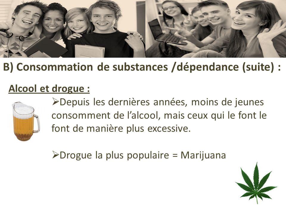 B) Consommation de substances /dépendance (suite) : Alcool et drogue : Depuis les dernières années, moins de jeunes consomment de lalcool, mais ceux q