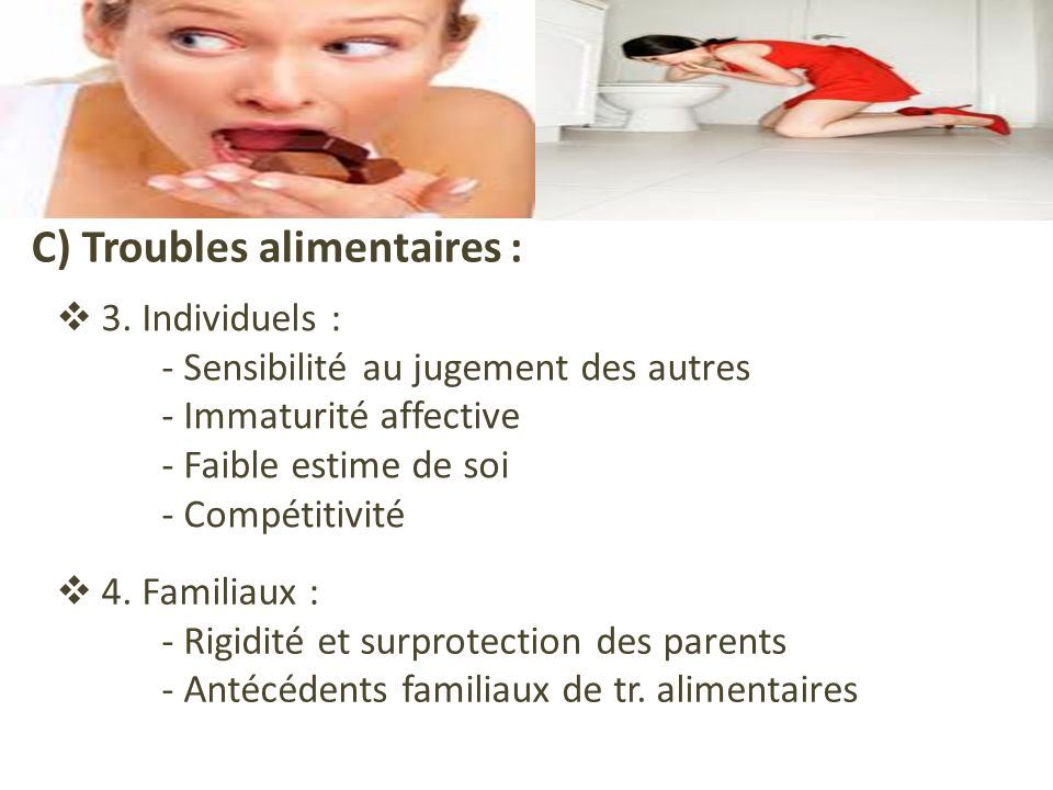 C) Troubles alimentaires : 3.