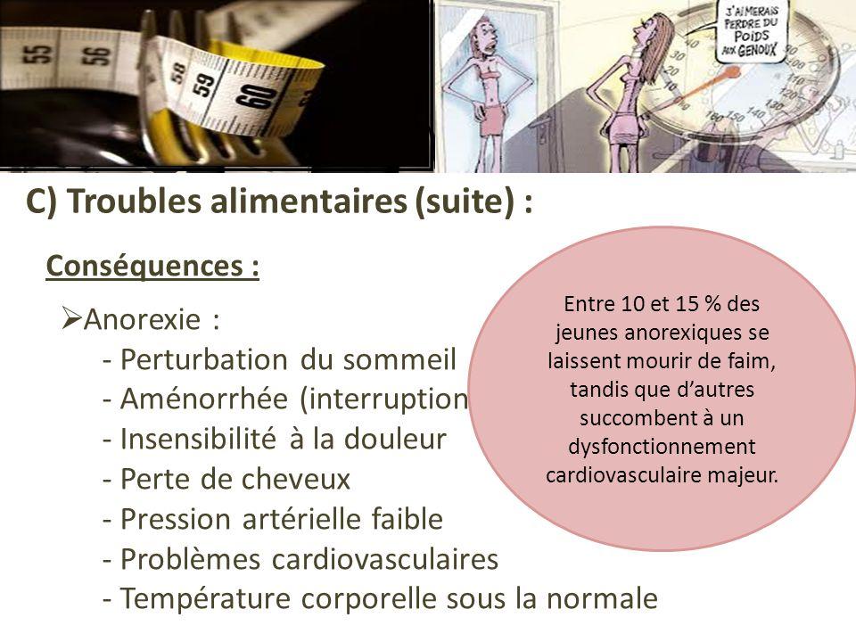 C) Troubles alimentaires (suite) : Conséquences : Anorexie : - Perturbation du sommeil - Aménorrhée (interruption des règles) - Insensibilité à la dou