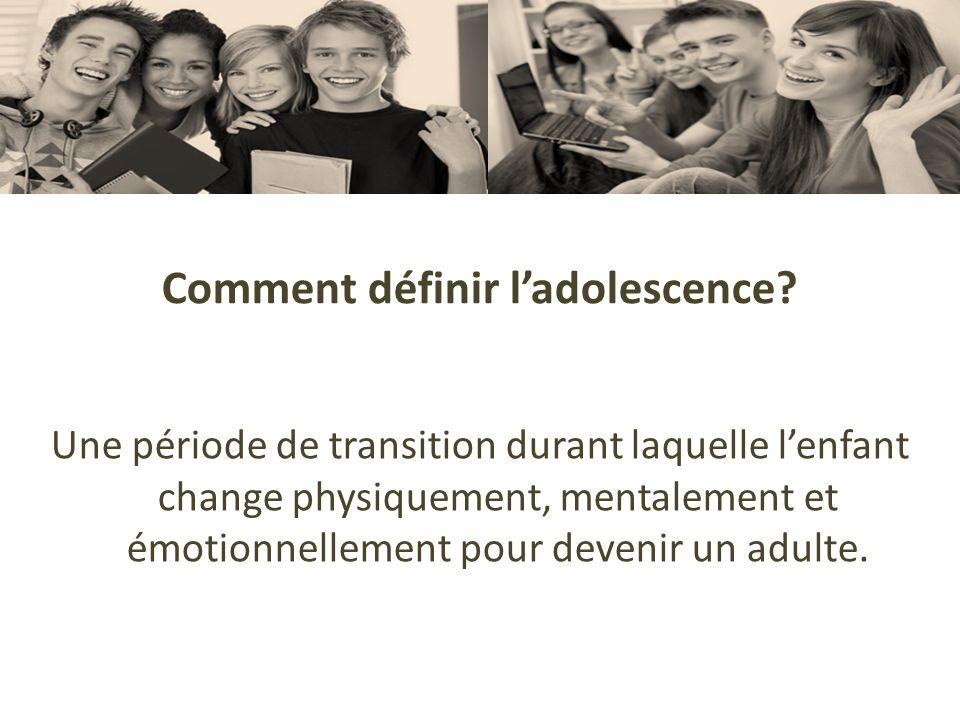 Comment définir ladolescence? Une période de transition durant laquelle lenfant change physiquement, mentalement et émotionnellement pour devenir un a