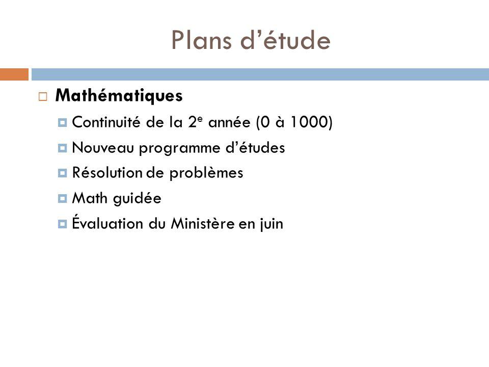 Plans détude Mathématiques Continuité de la 2 e année (0 à 1000) Nouveau programme détudes Résolution de problèmes Math guidée Évaluation du Ministère en juin