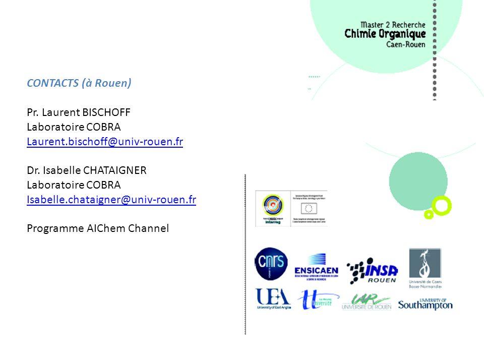 CONTACTS (à Rouen) Pr. Laurent BISCHOFF Laboratoire COBRA Laurent.bischoff@univ-rouen.fr Dr. Isabelle CHATAIGNER Laboratoire COBRA Isabelle.chataigner