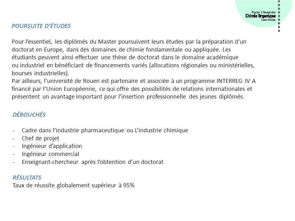 Master 1 Chimie Ecole d ingénieurs (INSA de Rouen, ENSICAEN,…) Ecole Normale Supérieure Diplôme équivalent reconnu.