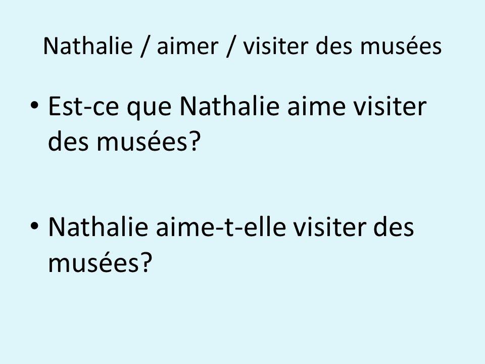 Nathalie / aimer / visiter des musées Est-ce que Nathalie aime visiter des musées.