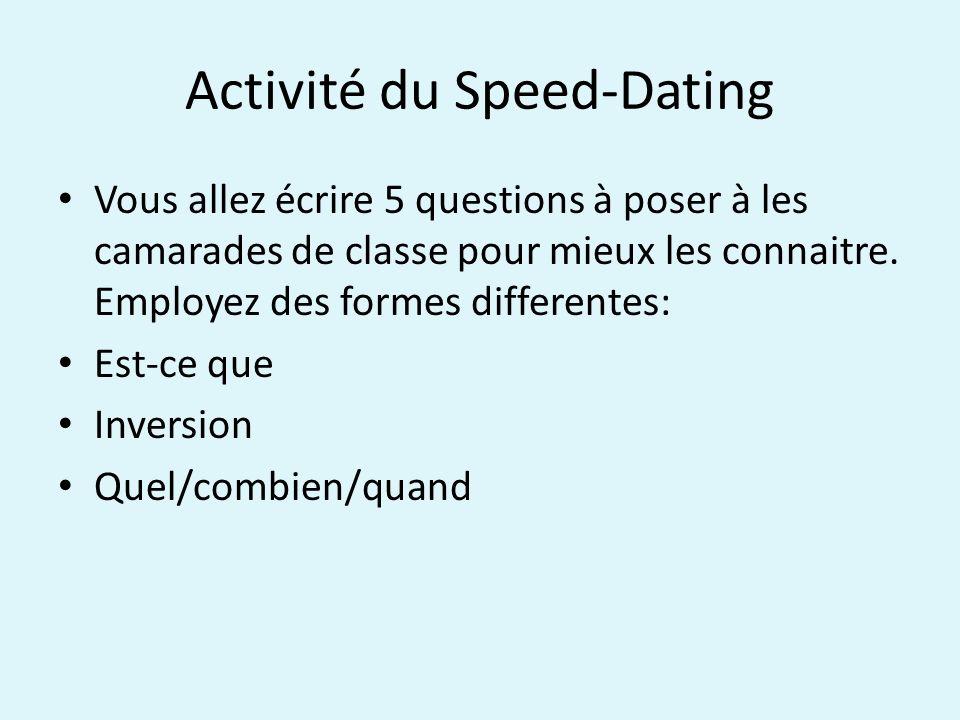Activité du Speed-Dating Vous allez écrire 5 questions à poser à les camarades de classe pour mieux les connaitre.